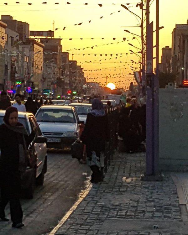 تصویر زیبا از غروب آفتاب در مرکز شهر اهواز | عکس عکس اهواز