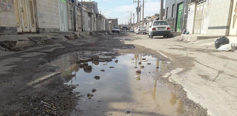 خیابان اهواز نگاهی به وضعیت بد جاده  و خیابان های اهواز