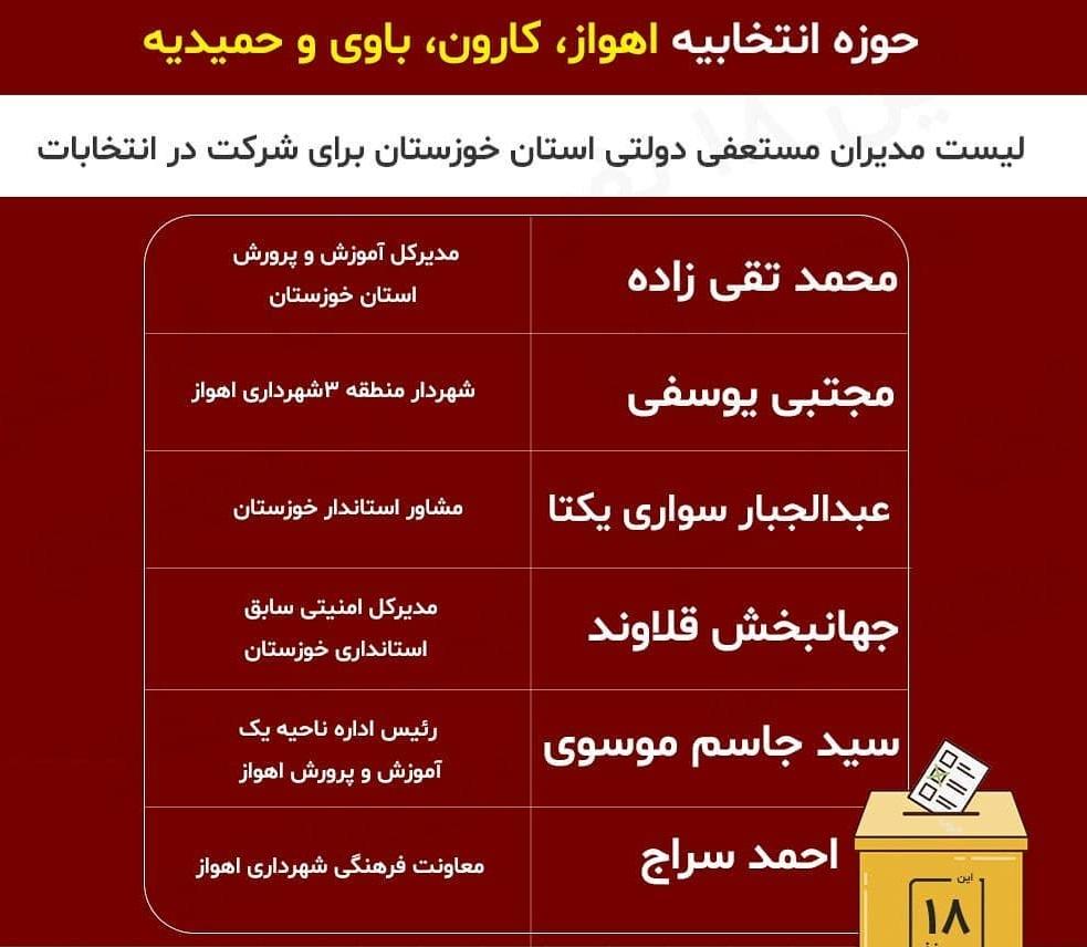 لیست مدیران مستعفی دولتی استان خوزستان برای شرکت در انتخابات 98 | انتخابات خوزستان